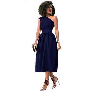 Navy blue one shoulder dress.